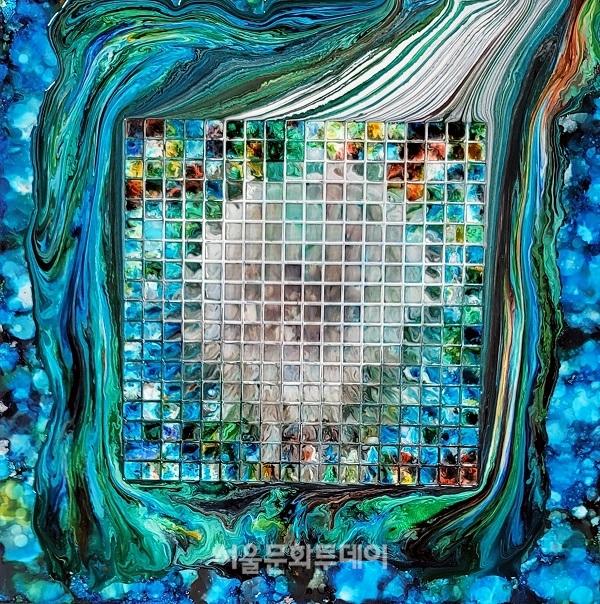 ▲ 소리를 본다_천지인_55x55cm_알루미늄에 혼합재료_2020 (사진=KOTE 제공)