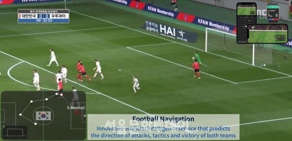▲에임브로드가 개발한 축구네비게이션(Football Navigation) 영상 캡처